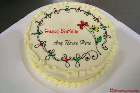 Write Name On Flower Happy Birthday Cake With Name Edit