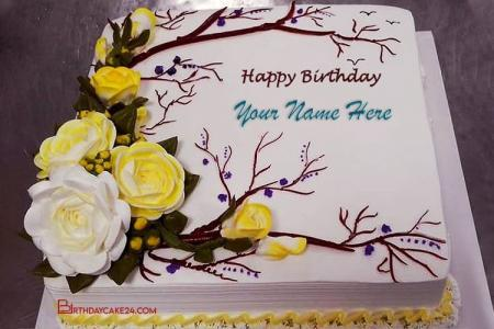 Yellow Flower Birthday Cake With Name Editing