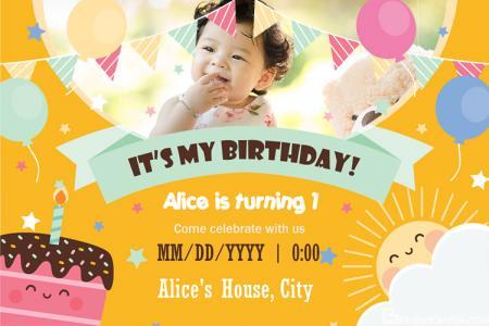 Children Birthday Invitation Cards With Photo Edit