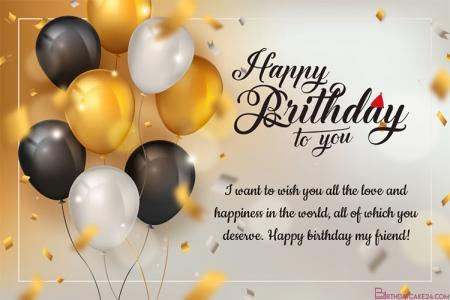 Golden Balloons Birthday Wishes Card Online Free