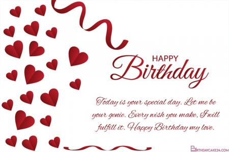 Romantic Love Birthday Wishes Card for Lover Online