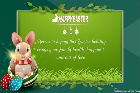 Green Easter Greeting Cards With Bunny