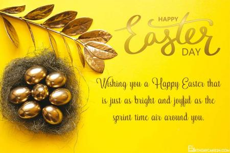 Easter Greeting Card with Golden Eggs Basket