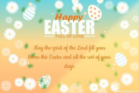 Happy Easter Day Greeting Card With Flowers Eggs