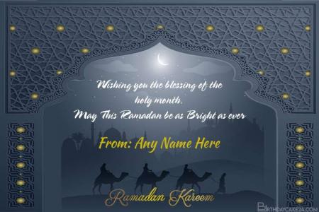 Happy Ramadan Mubarak Greeting Card With Name Edit