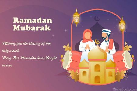 Muslim Family Greeting With Ramadan Kareem Card