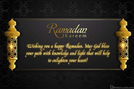 Golden Happy Ramadan Kareem Card With Name Wishes