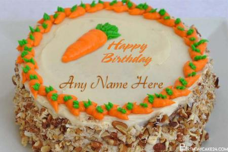 Customize Carrot Birthday Cake With Name Editing