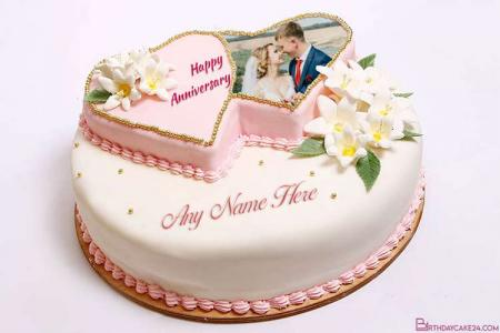 Write Name and Photo Wedding Anniversary Cake