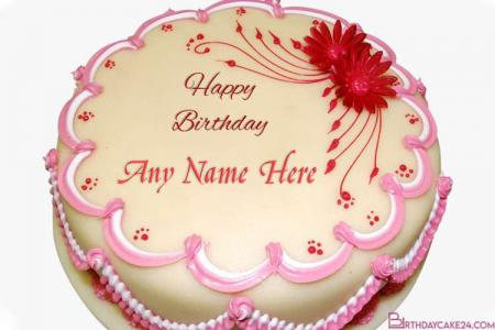 Happy Birthday Flower Cake With Name Editor