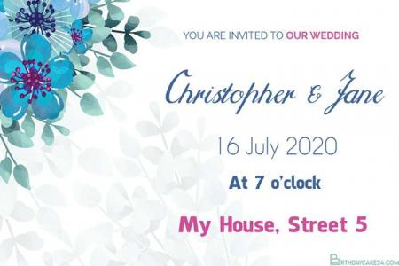 Make Wedding Invitation Card With Blue Flowers