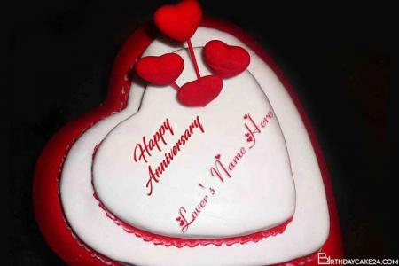 Decorated Heart Anniversary Cake For Lover With Name