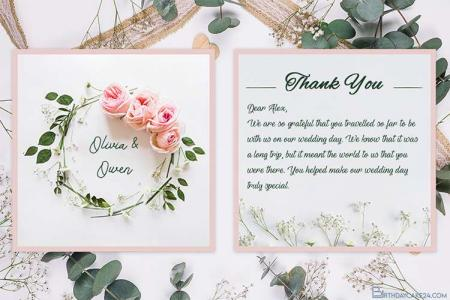 Create Flower Wedding Thank You Cards Online
