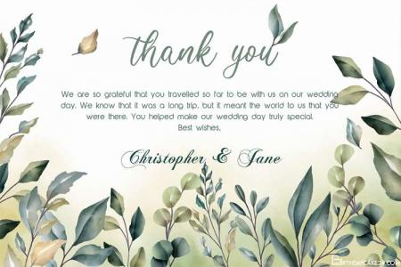 Beautiful Wedding Thank You Card With Green Leaves
