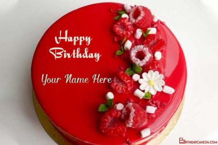 Write Name On Red Birthday Cake With Name Generator