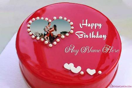 Amazing Name and Photo on Red Birthday Cake Online
