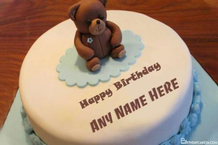 Teddy Bear Birthday Cake With Name Editing