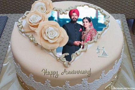 Happy Anniversary Cake With Photo Frame