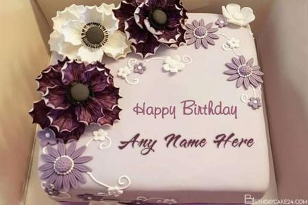 Purple Flower Happy Birthday Name Cakes Online