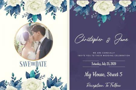 Free Wedding Invitation Card With Watercolor Flower