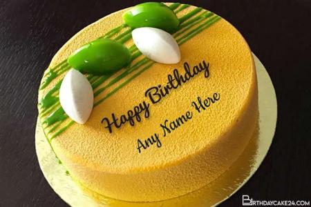 Delicious Yellow Happy Birthday Cake With Name Edit