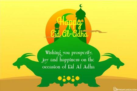 Free Eid al Adha Mosque And Goat Wishes Cards