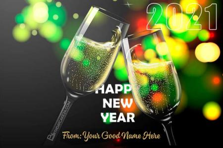 Champagne New Year 2021 Card With Name Online