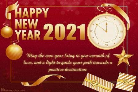Happy New Year 2021 With Clock Greeting Cards Online