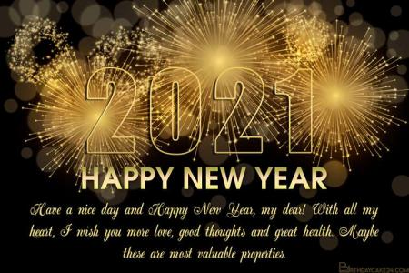 New Year 2021 Fireworks Wishes Cards Online Free