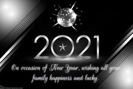 Free Online Silver Happy New Year 2021 Card Maker