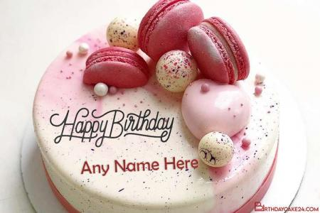 Generate Name On Pink Butter Cream Decorated Birthday Cake