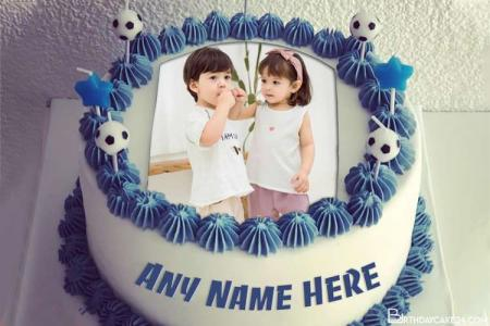 Football Birthday Wishes Cake With Name And Photo On It