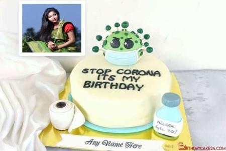 Coronavirus/COVID-19 Birthday Cakes With Name And Photo