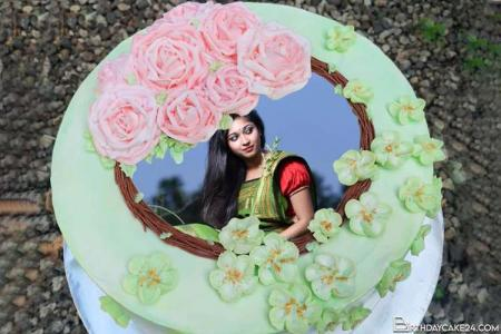 Flower Decorated Round Shape Birthday Cake With Photo