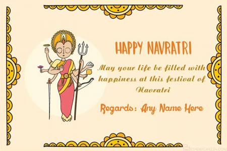 Write Name On Navratri Greeting Card
