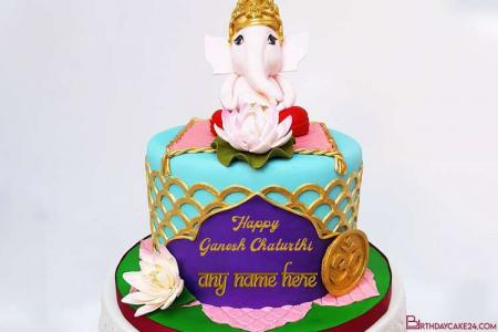 Ganesh Chaturthi Wishes Cake With Name Editor