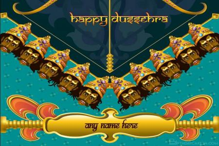 Write Name On Dussehra Festival Greeting Cards