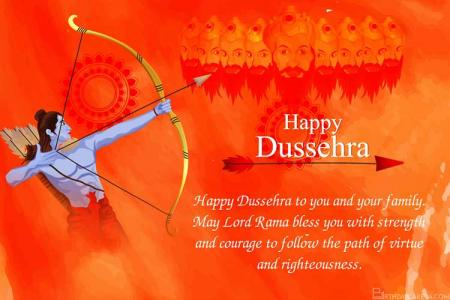 Free Orange Dussehra Festival Greeting Card