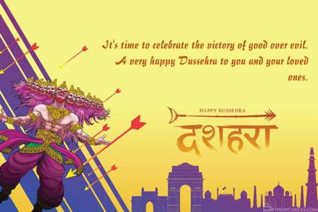 Wishing You A Very happy Dussehra Greeting Card