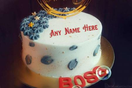 Happy Birthday Cake For Boss With Name Generator