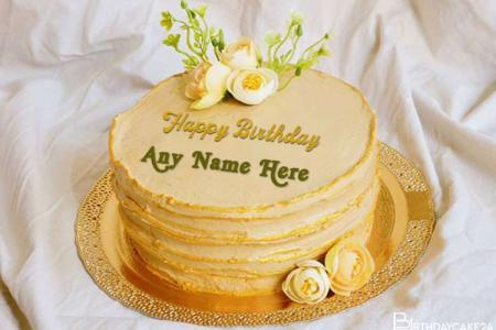 Beautiful Yellow Birthday Cake With Your Name