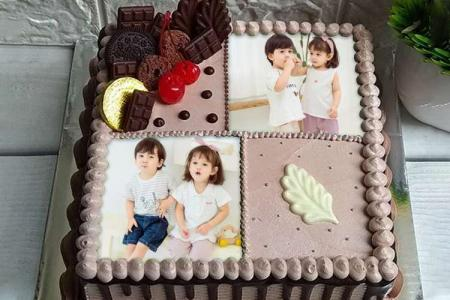 Happy Birthday Cake With Double Photo Frame