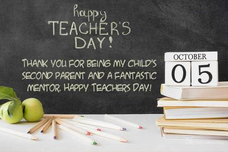 World Teacher's Day Greeting Card With Chalkboard