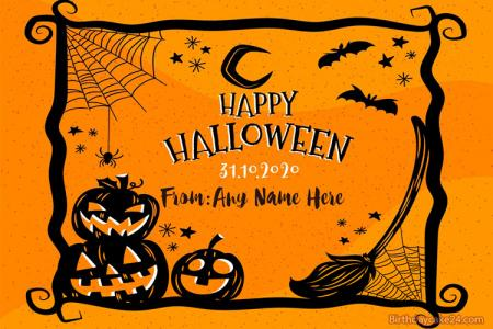 Write Name On Halloween Horror Greeting Cards