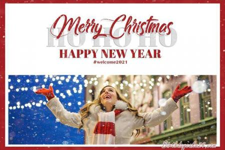 Christmas And New Year 2021 Photo Frame Online Editing