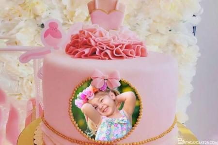 Pink Princess Birthday Cake For Girls With Your Photos