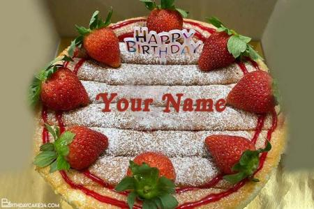Best Strawberry Cake For Happy Birthday With Name Edit