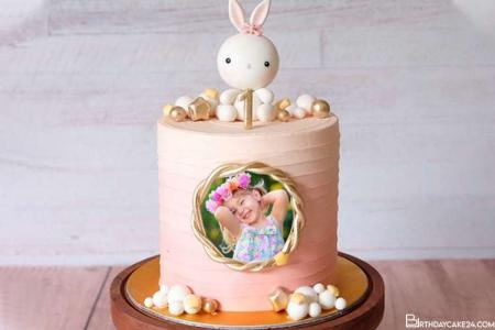 1st Bunny Birthday Cake With Photo Online Free