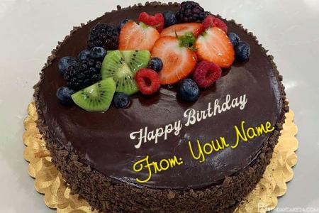 Yummy Fruit Chocolate Birthday Cake By Name Editing