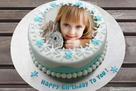 Lovely Birthday Cake With Snowflake With Name And Photo Editor